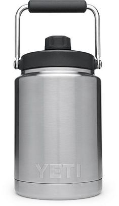 The YETI Rambler half-gallon jug offers the same durable construction and industry-leading ice retention that you& come to expect from the YETI Rambler Series but now in a larger build. Available at REI, Satisfaction Guaranteed. Yeti Cooler, Cooler Box, Construction Design, Bottle Design, Water Bottle, Stainless Steel, Coolers, Rest, Yeti Accessories