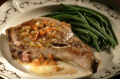 Pork chops with wine sauce