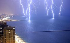 Lightning on Lake Michigan at Chicago