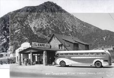Meeker's Cajon Pass Road to Wrightwood to the left and Big Bear to the right and VV straight up the hill. Old Pictures, Old Photos, Vintage California, Southern California, California History, Route 66 Road Trip, Old Gas Stations, Old Buildings, Old Town
