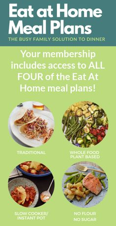Your membership to Eat at Home Meal Plans includes access to ALL FOUR of these meal plans {review on Home Storage Solutions 101} Good Food, Yummy Food, Yummy Recipes, Household Tips, Household Products, Monthly Meal Planning, Home Meals, 15 Minute Meals, Easy Eat