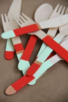 DIY colour block spoons would be a cool wedding present? Geschenke