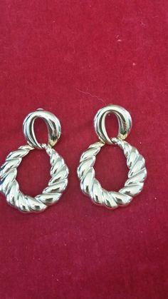 Vintage Gold tone dangle hoop earrings.  #DropDangle Hoop Earrings, Pierced Earrings, Vintage Designs, Dangles, Gold, Ebay, Store, Stud Earring, Larger