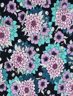 "Finnish design jersey fabric ""Dahlia night"" by Nora Bisi - Mieli Design.  Produced by Kangaskapina.fi."