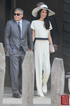 George & Amal go to City Hall in Venice // via TLO // she looks perfect.