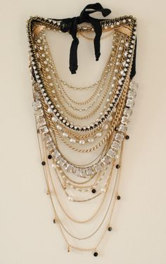 Add all of your necklaces together to create this look