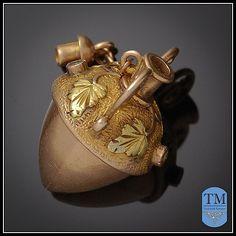 Victorian 14k Gold Acorn Perfume Charm