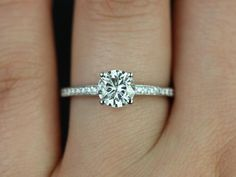Romie 14kt White Gold FB Moissanite Solitaire with by RosadosBox