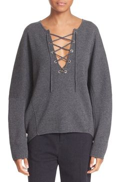Vince Lace-Up Merino Wool & Cashmere Pullover available at #Nordstrom