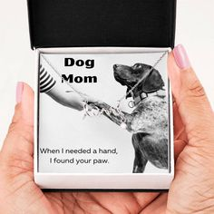 This is the perfect mom for the special dog mom. The necklace is available in gold and silver. The message card says, when I needed a hand, I found your paw. Love In Cursive, Unique Gifts, Best Gifts, Dog Mom Gifts, I Found You, Cute Necklace, Message Card, Sweet Style, Working Moms
