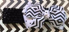 Wider crocheted Headband accented w/ oversized White & Black bow.Can be worn centered or side. Perfect addition to Baby pictures! by RockinRobinsBling on Etsy, $5.50