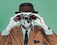 Man Looking Through Binoculars royalty-free stock illustration