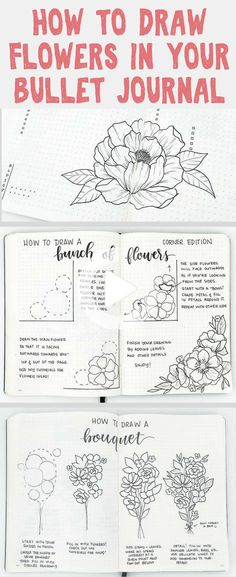 How to draw beautiful flower doodles in your bullet journal! These easy flower drawing tutorials will have you doodling flower patterns all over your bujo. Realistic Flower Drawing, Simple Flower Drawing, Easy Flower Drawings, Flower Drawing Tutorials, Flower Sketches, Easy Drawings, Bullet Journal Layout Templates, Bullet Journal Ideas Pages, Bullet Journal Inspiration