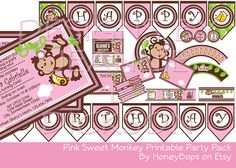 Girl Monkey Birthday or Baby Shower DIY Printable Party Pack