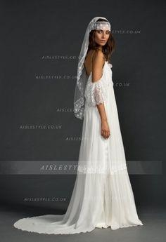 Boho Lace Appliqued Off the Shoulder Long Chiffon Beach Wedding Dress