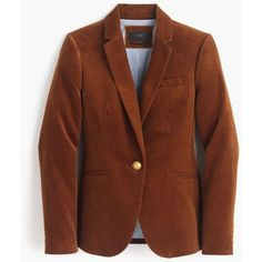 J.Crew Campbell blazer in corduroy ($168) ❤ liked on Polyvore featuring outerwear, jackets, blazers, blazer, short-sleeve blazers, blazer jacket, slim jacket, corduroy blazer and brown blazer