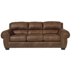 Ashley Burnsville Faux Leather Queen Size Sleeper Sofa ($1,050) ❤ liked on Polyvore featuring home, furniture, sofas, chocolate, low sofa, low couch, patterned sofa, patterned couch and striped couch