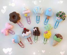 Best Bookmarks, Bookmarks Kids, Diy Arts And Crafts, Bead Crafts, Crafts For Kids, Polymer Clay Projects, Diy Clay, Paper Clips Diy, Unicorn Cookies