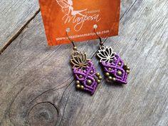Lotus flower hippie chic earrings -  handwoven boho bohemian hippie gypsy elven micro macrame micromacrame