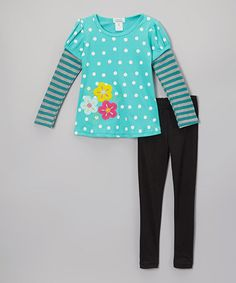 Love this Teal Polka Dot Tunic & Leggings - Toddler & Girls by Littoe Potatoes on #zulily! #zulilyfinds