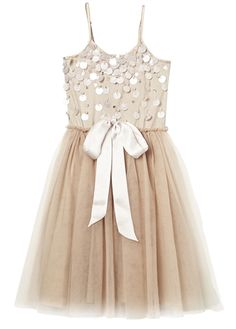 A new twist on a classic Tutu Du Monde body style, this beautiful Diamonds and Pearls tutu dress features large sequins which dangle and sparkle, adjustable spaghetti straps and beautiful skirt ruched at the waistline. FREE SHIPPING.