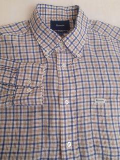 FACONNABLE Men's 100% Linen Blue Brown Plaid Size L Large Long Sleeve Shirt