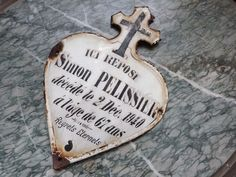 antique grave markers | Antique French mourning grave yard marker enamel cemetery tomb memento ...