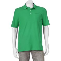 Men's Croft & Barrow® True Comfort Classic-Fit Pique Performance... ($13) ❤ liked on Polyvore featuring men's fashion, men's clothing, men's shirts, men's polos, med green, mens pocket t shirts, mens short sleeve pocket tee shirts, mens short sleeve shirts, mens green polo shirt and mens pique polo shirts