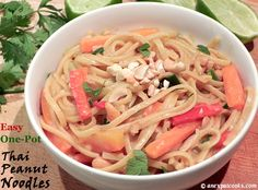 An Expat Cooks: Easy One-Pot Thai Peanut Noodles--A little veggie prep work is all that is needed to make these delicious Thai peanut noodles in one pan! Thai Peanut Noodles, One Pot, Chicken Recipes, Veggies, Pasta, Cooking, Ethnic Recipes, Pond, Kitchen
