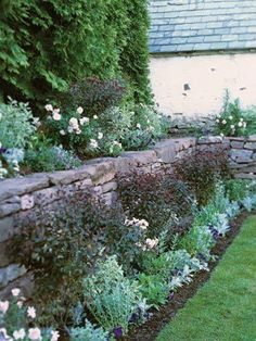 To soften the look of this 4-foot-high retaining wall, a traditional English-style border was planted above and below it.