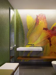 modern artistic bathroom. Mosaic tile flower wall mural.  #bathroom #plant #mosaic