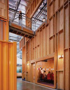 raw stud walls: Clive Wilkinson Architects (CWA), Pallotta Teamworks headquarters
