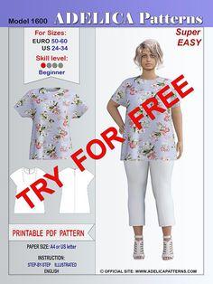 Adelica pattern 1600 Plus size sewing pattern tunic - - Plus size Cozy Relaxed fit Tunic Sewing Pattern for beginners PDF. Tunic Sewing Patterns, Plus Size Sewing Patterns, Tunic Pattern, Clothing Patterns, Shirt Patterns, Pattern Sewing, Vogue Patterns, Jacket Pattern, Dress Patterns