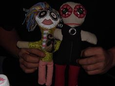 two  scrappy ragdolls i hand stitched. grumble wubby and his girlfriend. by amanda rybarz