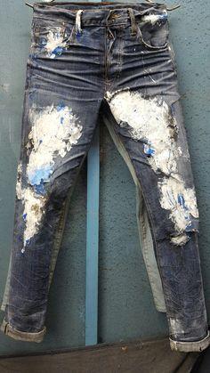 Dennim Denim Art, Men's Denim, Patchwork Jeans, Jeans Style, Menswear, Jeans Fashion, My Style, Adidas Shoes, Pants