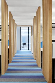 Really cool corridor, interesting way to make offices somewhat private but not closed