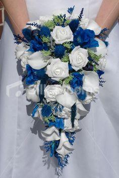 Scottish Bridal Bouquet w/ White Roses, Blue Thistles & Foliage