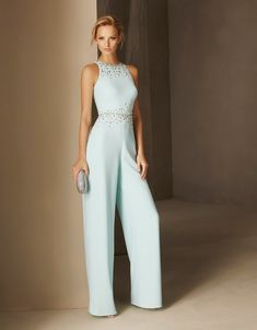 Pronovias > BLASCO - Straight-cut cocktail jumpsuit in crepe, halter neck and fitted at the waist Sexy Dresses, Evening Dresses, Formal Dresses, Party Dresses, Dress Party, Party Wear, Mode Outfits, Fashion Outfits, Womens Fashion