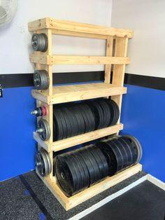 Home Made Gym, Diy Home Gym, Gym Room At Home, Home Gym Decor, Best Home Gym, Rack Crossfit, Crossfit Garage Gym, Gym Rack, Home Gym Garage