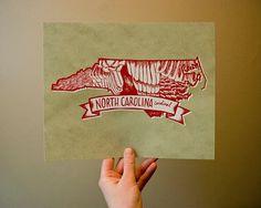 North Carolina State Bird Northern Cardinal 8 x 10 by kelzuki, $18.00 - this Etsy shop has every state