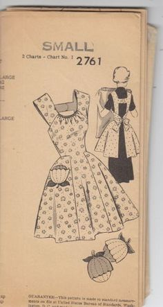 Vintage 50s Mail Order Cobbler Hostess Apron Pattern S~NEW STYLE 2761