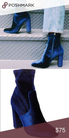 Blue Velvet Edit Boots. Brand new in box. Bought them last holiday season to wear to holiday parties but my papa ended up having a stroke so I never wore them since I skipped all the events I was going to attend. They're beautiful but I just don't see myself wearing them anytime soon. Purchased full price at Nordstrom. No trades. No PayPal. No lowballing. Will upload more pictures soon. Steve Madden Shoes