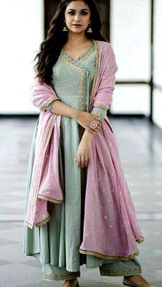 Beautiful Angrakha style Cotton-Mul Kurti with aari work embellishments. Designer Anarkali Dresses, Pakistani Dresses, Indian Dresses, Indian Outfits, Designer Dresses, Latest Traditional Dresses, Traditional Outfits, Frock Fashion, Fashion Dresses