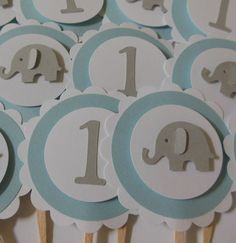 Elephant and 1st Birthday Cupcake Toppers  Blue by Whimsiesbykaren, $5.75