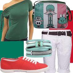 Sei una tifosa e guarderai l'Italia a casa di amici? Stufa delle solite t-shirt sformate con la bandiera dell'Italia? Indossa i colori a modo tuo: top verde a spalla nuda, pantaloncini bianchi e Superga rosse, un tocco glam col braccialetto menta e un tocco ironico con la borsa... e ovviamente, la bandiera!