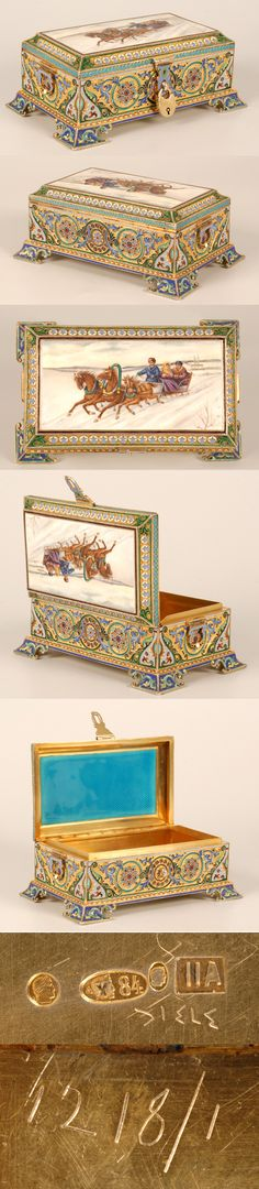 A Russian silver gilt, cloisonne, and en plein enamel casket, 11th Artel, Moscow, 1908-1917. Oblong, on four bracket feet, the sides with ro...