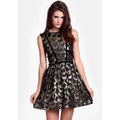 Line & Dot Velvet Trim Foil Accent Dress