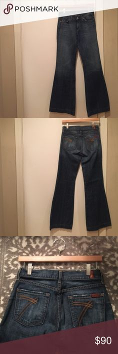 """NWOT Seven7 flare jeans NWOT Seven7 For All Mankind Dojo flare jeans. Size 25. Never worn. Excellent condition. Smoke free home. 32"""" inseam. Seven7 Jeans"""