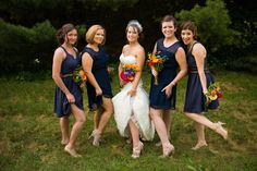 deep navy blue dresses for lovely bridesmaids - thereddirtbride.com - see more of this wedding here
