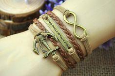 Anchor charm braceletbronze anchor & by HandmadeTribe on Etsy, $4.99 Personalized fashion handmade bracelet,the best gift of friendship.